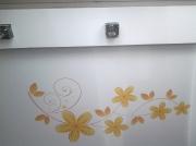 Натяжной потолок белый глянцевый с фотопечатьюец, 2-х уровневый (3)